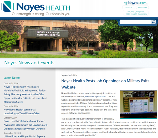 Military Exits featured on Noyes Health Website